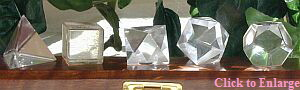 Platonic Solids in Clear Quartz by Celestial Lights celestial@webaccess.net