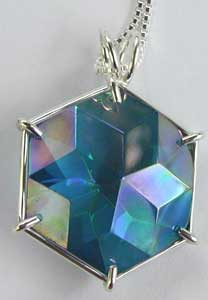 Aqua Aura Flower of Life Pendant from www.Celestial-Lights.com